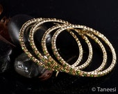 Bangle Stack,Stacking Bangle Bracelets,Bridal Jewelry, Olive green and Brown Crystal bangle Bracelets Set of 4 Bangles by TANEESI Jewelry