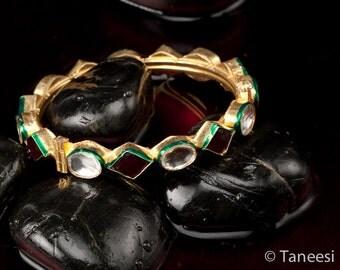 ROYAL KUNDAN Bangle Vintage Gold Plated with Kundan and Ruby Glass Royal Bangle Bracelet