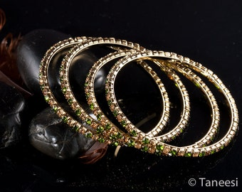 Bangle Stack,Set of 6 Stacking Bangle Bracelets,Bridal Jewelry, Olive green and Brown Crystal bangle Bracelets Set of 6 Bangles by TANEESI