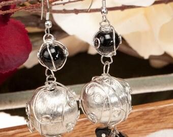 Silver earrings,Wire wrapped ,Black beaded Silver Dangle Earrings ,The BLACK BEAUTY by Taneesi