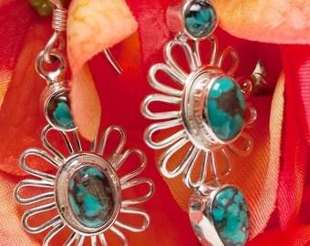 Turquoise Earrings, December birthstone,Flower Earring,Fine Silver Jewelry,Ethnic jewelry  by Taneesi Jewelry Sterling Silver Earrings
