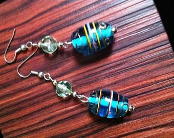 TURQUOISE Earrings-dangle-Turquoise Blue- Glass earrings- everyday earrings by Taneesi