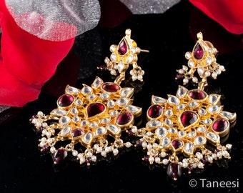 Gold Earrings, BAROQUE Chandelier Kundan Earrings, Gold Plated 22K ,Gold Vermeil Earrings by TANEESI