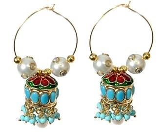 Turquoise Earrings,CHAND BALI Earrings with JHUMKAS, Hoops Turquoise Earrings ,Jhumkas on Hoops, Ferozaa Earrings,Pearl earrings by Taneesi