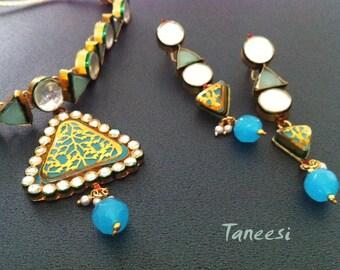 KUNDAN Jewellery,Blue Kundan NECkLACE ONLY,Kundan Necklace , Gold Thewa work Pendant , Kundan jewellery by Taneesi