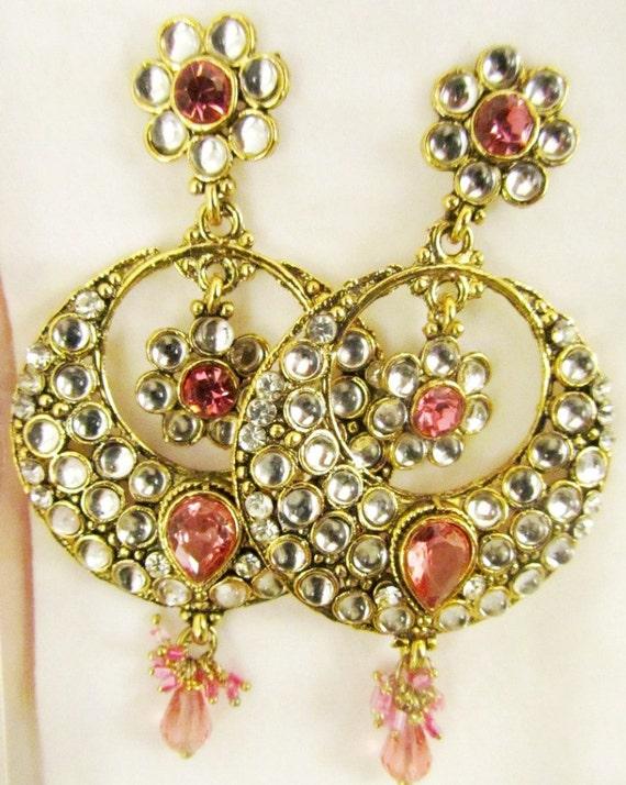 Pink Kundan Chandelier Earrings,Kundan Jewellery,CHAND BALI , Royal Mughal inspired Earrings Jaipur Jhumki Jhumka earrings