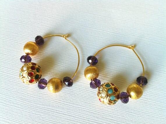 Gold Hoop Earrings,14K gold filled Earrings,Gemstone Earrings,Turkish Jewelry, Indian Gold earrings,Small Hoops by TANEESI