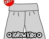 Size 3 to 5 yrs. Beginner - 1 hour project. Easy Sewing ePattern for boys or girls. How to make iGrow Pants. PDF