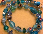 Turquoise Art Glass Necklace, Variation 1