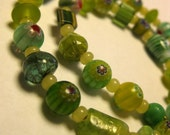 Green Art Glass Necklace, Variation 1