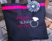 Pink Black Zebra Bride to Be Tote Bag