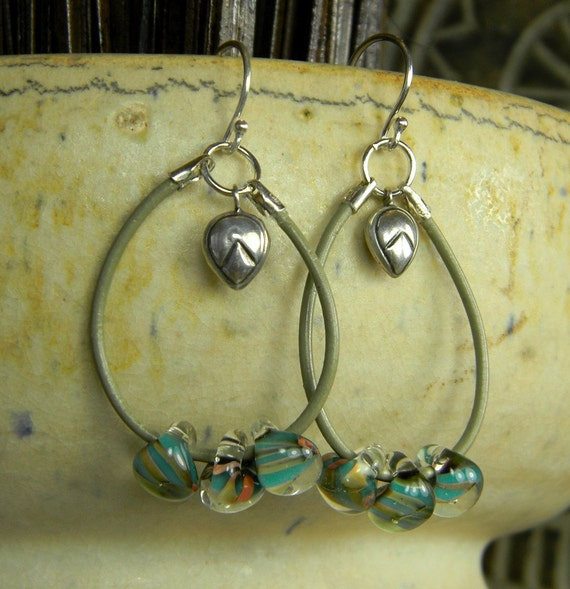 Lampwork and Leather Hoop Earrings