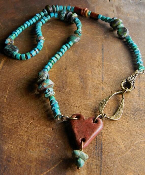 Ceramic Heart Necklace Turquoise Brass Asymmetrical OOAK
