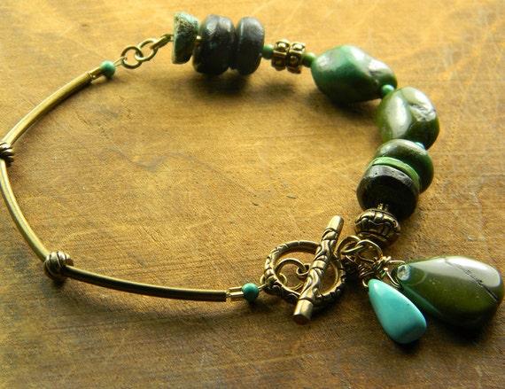 Natural Turquoise Bracelet Bronze Brass OOAK