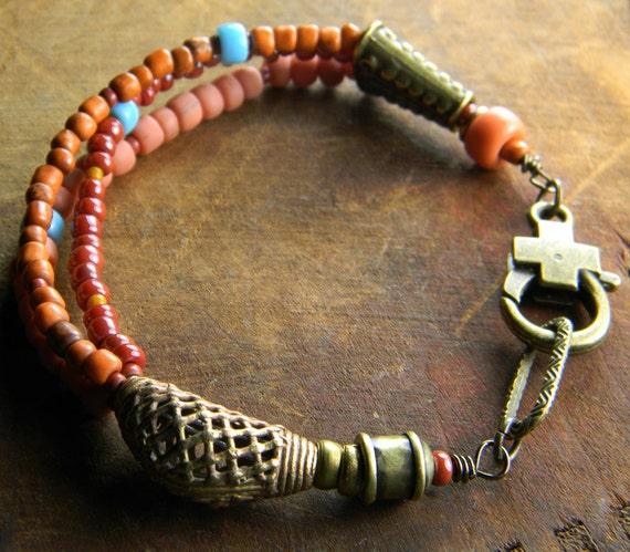 Trade Bead Bracelet African Brass Red Yellow Orange OOAK