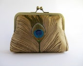 Silk embroidered peacock feather clutch purse with chain in Gold