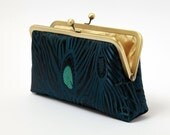 Peacock Feather Silk Brocade and Silk Lined Clutch Bag Noir
