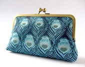 Art Nouveau Peacock feather clutch purse in Liberty of London print