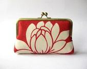 Lotus flower in silk lining clutch purse bag Bag Noir, Bridesmaids clutch, Weddings, Bride formal clutch purse, Wedding accessory