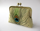 Embroidered peacock feather clutch purse with chain in Gold by BagNoir