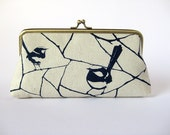 Eyeglass case or pencil with Handprint Birds BagNoir- Only One