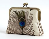 Reserved/ Silk embroidered peacock feather clutch purse with chain in ivory