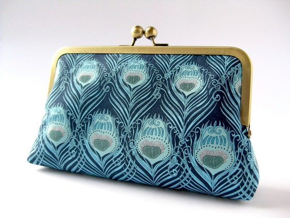 SALE- Art Nouveau Peacock feather clutch purse in Liberty of London print