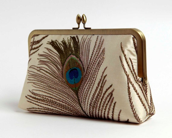 Embroidered Peacock Silk Clutch Bag in Ivory,Wedding clutch,Bride clutch, Evening purse, Bridesmaid clutch Bag Noir