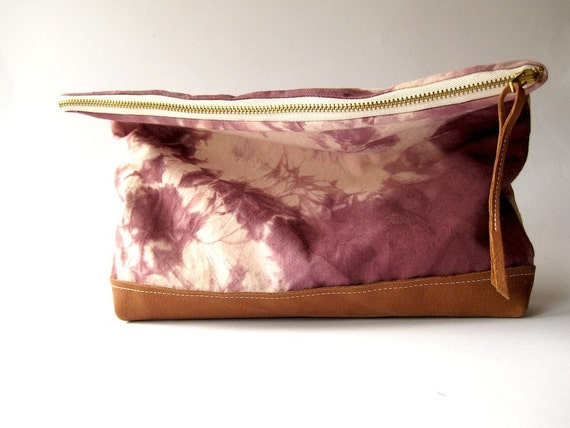 HAND DYED and Leather Clutch Fold Over Envelope Bag Noir