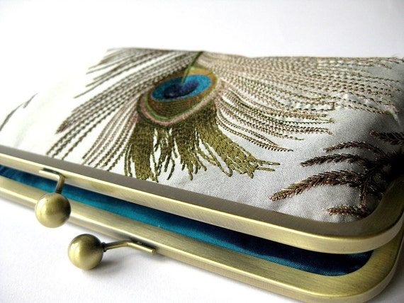 FREE Chain, Clutch purse  Silver Silk Embroidered Peacock,Evening Clutch, Bridesmaid clutch, Weddings bride formal clutch purse