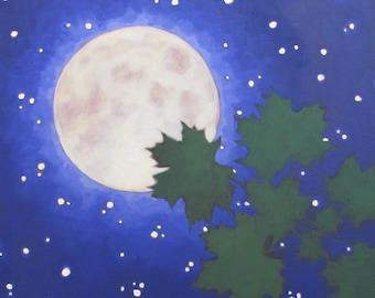 June Moon, Summer Night Sky, Trailside Mountain Maple