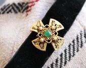 Vintage Black Velvet Chocker with Filigree Cross