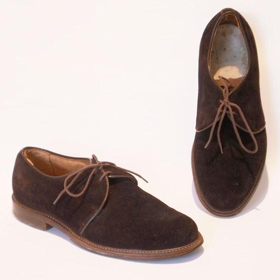 RESERVED for Da brown - original 1940s, 1950s Shoes, brown buckskin, Men 9, Women 11 1/2, EU 42/43