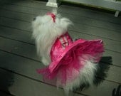SALE  10 lb size Pink Heart Batique Small Dog Harness Dress with Tulle Skirt