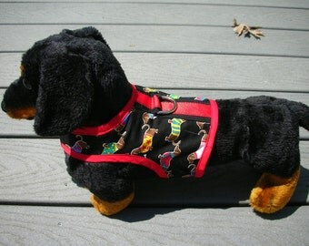 SALE Dachshund Print Small Dog Harness
