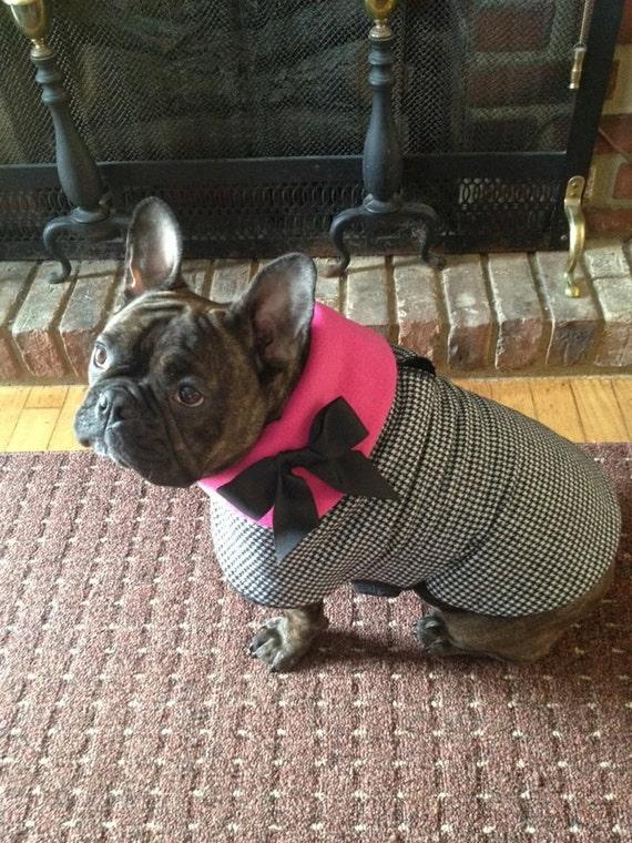 Houndstooth plush lined Dog Jacket, Dog Coat, Dog Jackets, pet clothing