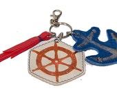 Nautical leather ship wheel and anchor keychain, handmade