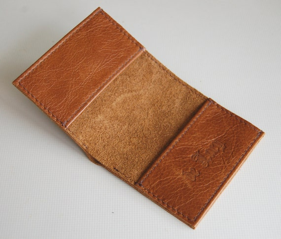 Anitqued tan leather bifold card and note wallet, handmade. ///RESERVED///