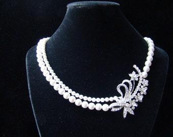 Bridal Necklace, Swarovski Pearl Necklace,  Bridesmaids Necklace, Party Necklace (H002)