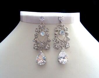 Bridal Cubic Zirconia Chandelier Earrings, Bridesmaid Earrings (E4025)