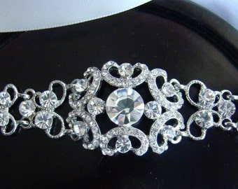 Bridal Headband, Rhinestone Headband, Victorian Wedding Headband, Bridesmaids Headband, Rhinestone 4in, MILANDA