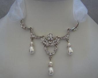 Bridal Necklace Rhinestone Swarovski Crystal Pearl (31H22)
