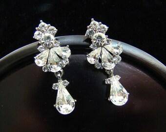 Vintage Dangle Earrings, Wedding Bride Earrings, Bridesmaid Earrings, Rhinestone Earrings ALYSSA