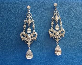 Bridal CZ Chandelier Earrings, Wedding Jewelry, Cubic Zirconia Chandelier Earrings,  (E4028)