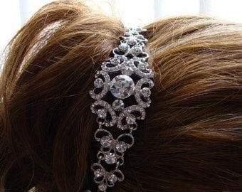 "Bridal Headband, Rhinestone Headband, Victorian Wedding Headband, Bridesmaids Headband, Rhinestone 5"" #HB12"