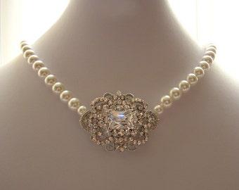 Bridal Pearl Necklace, Victorian Style Wedding Jewelry, Rhinestone Wedding Necklace, White Pearl Bridal Jewelry, BELLA