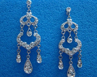 Bridal Chandelier Earrings Clear Rhinestone (E2058)