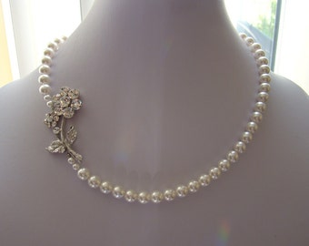 Bridal Necklace, White Swarovski Pearl, Flower Pearl Necklace,  Party Necklace #31H126
