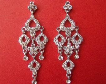 Vintage Bridal Chandelier Earrings Rhinestone Bride, Bridesmaid (E2121)
