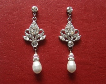 Bridal Earring Swarovski Pearl and Rhinestone (E3002A)